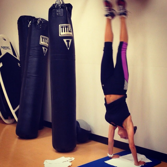 Handstand practice after heavy bag boxing. I am determined to master the handstand! Got a ways to go. #handstand #Practicemakesperfect
