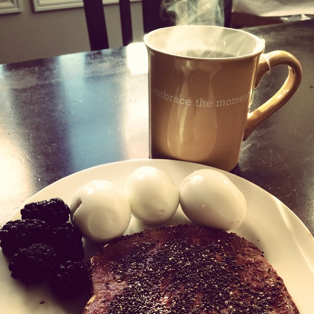 My favorite breakfast. A cup of steaming green tea in my favorite mug, egg whites, blackberries and  @daves_killer_bread with natural peanut butter and a sprinkle of chia seeds. If you haven't tried Dave's killer bread you haven't lived! I don't feel guilty eating this bread! It's packed with protein, fiber, and whole grains with no artificial anything. They claim it will rock my world. And it does! I enjoy 1 slice a day in the morning. My fav mug reminds me to embrace the moment, whatever that moment may be. See the light in everything. #fitness #fitnesslifestyle #eatclean #eatcleantraindirty #fitfam #fitgirl  #fitnessforlife #fitmama #makingachange #healthyliving #healthylifestyle