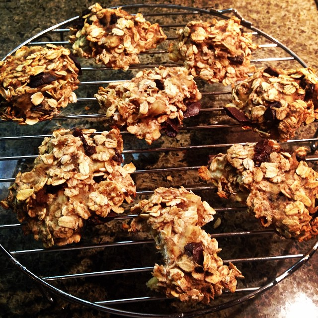 Are you REALLY awesome at eating cookies but not so awesome at eating oatmeal? Try these high fiber banana oatmeal drops - 3 ingredients!  Simple, healthy and tasty!  I can't remember where I saw this, but I wanted to try it with my own tweaks. Mix 2 bananas with 1 cup regular oats (chop them up a little), and add some dark chocolate chips. I also decided to add cinnamon and nutmeg (because I add cinnamon to practically everything - yum!). Bake for 15 mins at 350 F.  Perfect for when you are feeling snacky or want a bit of a treat.  Notice that I did not call them cookies.  That sets up an expectation that, in my opinion, will not be met.  They are a tasty healthy treat though…my kids even liked them.  They are great the next day (toast them) and just perfect if you need to take your breakfast to-go.  And yes, there is a big bite out of the one in front! I was eager to try them.