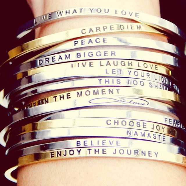 Have you seen these awesome bracelets by @mantraband - so cool! I want several: Fearless, love, choose joy, shine, she believed she could so she did. ❤️