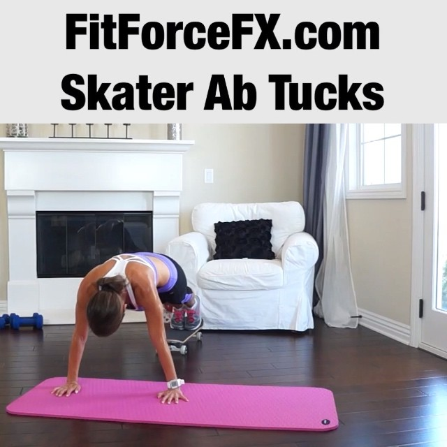 Skater ab tucks/pikes! An extremely effective ab exercise that really isolates the abdominal muscles. The movement forces your abdominals to work extra hard because your lower back and hip flexors (areas that can take over in other traditional ab exercises, like the crunch) are almost completely left out. Note: vid is sped up - go slower and feel the burn!  With your body in a plank (straight) position and your feet resting on the skateboard, keep your legs straight and slowly push your hips towards the ceiling while keeping your back flat and your abdominals engaged. Hold this pike position for 1-3 seconds, then slowly roll back to the starting position. That's one rep.  If you don't have a skateboard, this exercise can be done with towels under your feet (smooth flooring) or paper/plastic plates (carpeted flooring). It's even better when done with a stability ball! Have fun with this one!