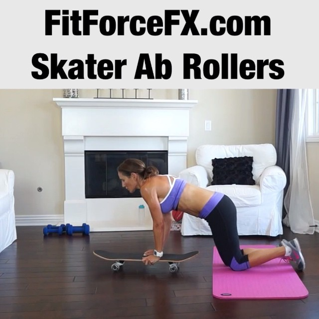 Ab Rollouts are a very effective (and badass looking) ab exercise. The movement creates really strong and defined abs. Don't have an ab roller? A skateboard works nicely! Don't have a skateboard? Use towels (smooth flooring) or plastic/paper plates (carpeted flooring).