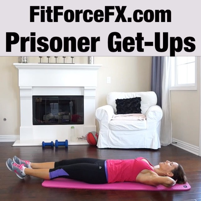 Move of the week: Prisoner get-ups are a great bodyweight exercise! This functional move really works the abs and the lower body.  How to: Lie flat on your back on the floor with your hands placed behind your head, elbows outwards, legs outstretched. Bend your knees, and keep your feet flat on the floor. Using your lower ab muscles, bring yourself forward until your butt and the heels of your feet are close, while also crossing your lower legs. With your hands behind your head, hinge at your hips and get up off the floor, pushing through the heels, and stand up straight without using your hands. Keep your core tight throughout the movement and be sure not to pull on your neck with your hands (keep your elbows back and chest up). Beginners, you guys can use your hands for support until you work up to hands-free. Have fun with it!  FitForceFX.com Train. Nourish. Transform.  Follow on Facebook for workouts, fitness & health tips, nutrition, & healthy recipes.  #fit #fitfam #fitspo #fatloss #fitgirl #fitness #fitchick #FitForce #fitmamma #fitmommy #fitjourney #fitnessgoals #fitnessjourney #fitnesslifestyle #fitnessmotivation #workout #weightloss #workoutvideo #weightlossjourney #bodyafterbaby #abs #muscle #health #homeworkout #healthylifestyle