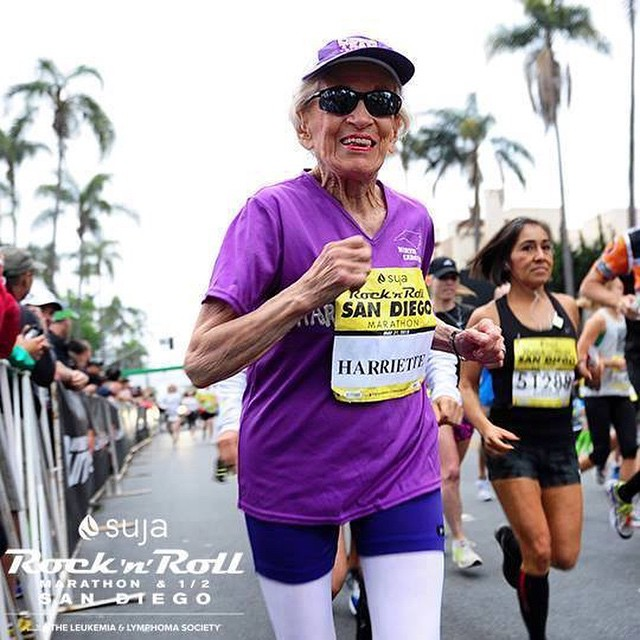 This woman is an inspiration! She's 92 years old and took up running at age 76! She just did the Rock n' Roll Marathon in SD and set a new World Record for oldest women to ever complete a marathon.  She did it in 7 hours and 24 minutes! Link to story on my Facebook page.
