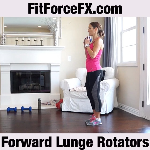 MOVE OF THE WEEK: Forward lunge rotators work your gluteus medius and minimus (aka the abductors at the outside of your hips), your quadriceps, hamstrings, and those pesky adductors at the inner thigh (score!). This is also a great core exercise, as the rotation engages the erector spinae, which run along the spine, the obliques at the sides of your torso and the deep abdominal muscle, the transverse abdominus! This move also builds coordination and balance, while enhancing posture.  How to: 1) Stand with feet shoulder width apart, holding a dumbbell/medicine ball in front of you. 2) Step forward with one leg, bending knees without extending the front knee past the toes. Your front leg should be parallel to the floor. 3) Twist torso in the direction of the front leg and then return to forward facing position. 4) Step back to starting position and repeat on the other side. Each lunge counts as one rep.  If you are new to exercise, master the basic forward lunge before adding the rotation movement, or weight. If you experience knee or back pain during the exercise, stop immediately and seek advice from a health care practitioner.  Follow me on YouTube and Facebook! Train. Nourish. Transform.  Workouts, fitness & health tips, nutrition, & healthy recipes.  #fit #fitfam #fitspo #fatloss #fitgirl #fitness #fitchick #FitForce #fitmamma #fitmommy #fitjourney #fitnessgoals #fitnessquotes #fitnessjourney #fitnesslifestyle #fitnessmotivation #workout #weightloss #weightlossjourney #workoutvideo #lunges #bodyafterbaby #yoga