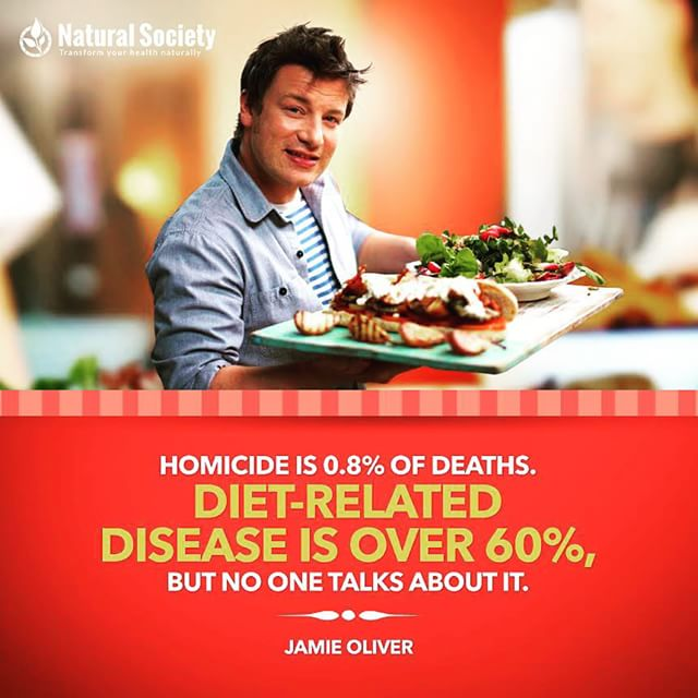 """Homicide is .8% of deaths. Diet related disease is over 60%, but no one talks about it."" - Jamie Oliver  I love the mission Jamie Oliver is on. He's trying to change the way we eat to deal a massive blow to obesity, heart disease, type II diabetes, and other diet related diseases. If you haven't already seen it, I highly recommend his TEDx Prize talk.  Video of his talk is posted to the top of my FB page (link in bio). Free workouts, health & fitness tips, & healthy recipes on Facebook, YouTube, and at FitForceFX.com. 🌟Train. Nourish. Transform.🌟 #fit #fitspo #fitfam #healthy #fitness #workout #eatclean #cleaneating #abs #getfit #healthychoice #fitfood #healthylifestyle #motivation #quote"