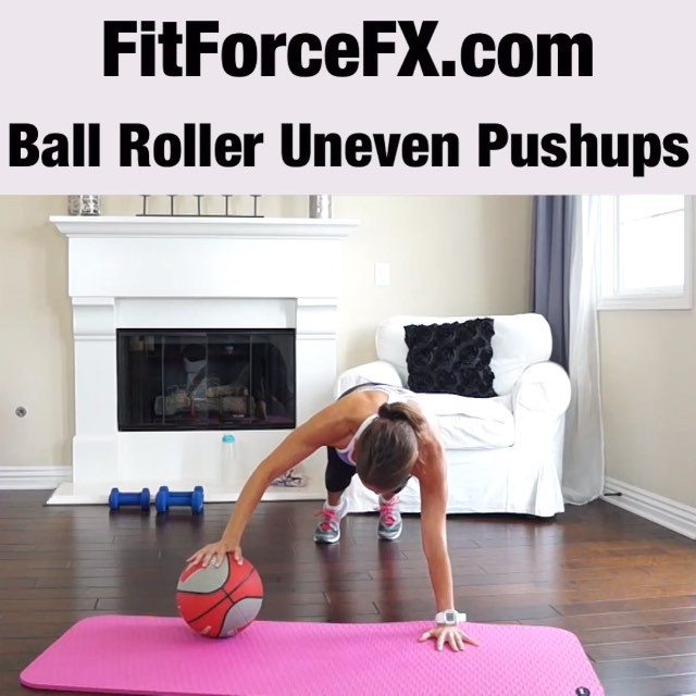 MOVE OF THE WEEK: Ball Roller Uneven Push-ups are an advanced variation of a regular push-up. When you perform an uneven push-up, you're fooling the body to go low enough. The uneven push-up targets your pectorals, triceps, deltoids and core muscles. Try doing a regular push-up after performing this exercise and you will probably notice your from has improved.  Technique:  1) Start in plank position (the