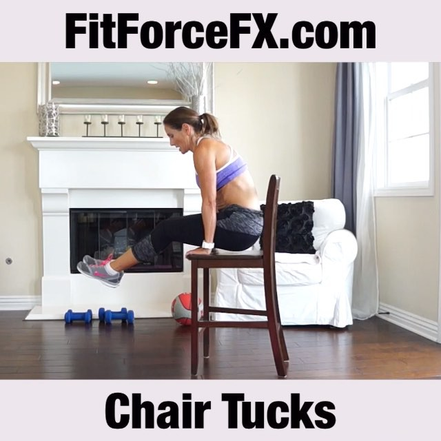 MOTW: Chair Ab Tucks. I've had several of you ask me how to target those pesky hard-to-get lower abs. This awesome exercise will help chisel those puppies! Sit-ups can sometimes turn into a momentum-assisted exercise, which means your abs aren't working as much as they could be. Ab chair tucks give you a static contraction that forces your abdominals to work really hard, without assistance from momentum.  Technique:  1) Sit in a sturdy chair or stool with your knees pressed together and your hands beside your hips.  2) Round your back and contract your abs tight as you press down with your arms to lift your hips and hover above the seat of the chair. 3) Lower yourself down slowly and repeat. 4) For added difficulty try extending your legs.  Tip: Try not to swing. Keeping the movement slow and controlled without swinging makes the movement even more difficult and more effective. Note: video has been sped up. Have fun!  Follow me on YouTube and Facebook for free workouts, health & fitness tips, and healthy recipes.  FitForceFX.com Train. Nourish. Transform.  #fit #fitfam #fitspo #fatburn #abs #core #sixpack #strength #fatloss #fitgirl #fitlife #fitmommy #fitjourney #fitnesslifestyle #fitnessmotivation #bikiniready #bodyafterbaby #bodyweightexercises #workoutvideo #weightlossjourney
