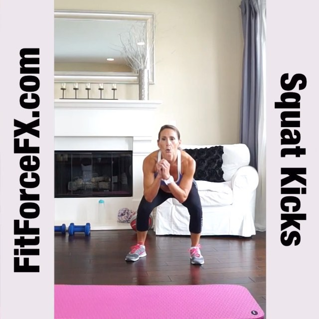 "Move of the Week: The Squat Front Kick is a great exercise for both fat burning and lean muscle building. Squats are an effective, tried-and-true exercise to tone the glutes and legs and by adding a kick, you are targeting the core muscles more as well as increasing the fat burn. It's a ""no-excuse"" exercise that you can do anywhere and no equipment is necessary! Go as fast as you can, while being sure to keep good form. Your heart will pump and your muscles will burn!  Technique:  1) Stand with your feet a little more than shoulder width apart and hands in guard position.  2) Contract your abs and keep them contracted throughout the entire movement. 3) Bend knees and lower into squat position. 4) Return to standing, bringing knee up. 5) Complete a front kick with your raised leg. 6) Be sure to re-chamber your leg at the knee and then bring it back down (you are making your muscles work extra hard here)! That's one rep. Repeat alternating legs for 24 reps (12 each leg) of 3 sets. Alternatively, you can turn this into a Tabata and set your timer for 20 seconds on and 10 seconds off for 8 rounds (4 minutes). This is one of my favorite go-to Tabata's in between sets on strength training days.  Beginners: Try to kick to waist level. Advanced: Try to get the kick as high as you can. Can you get it higher than your head? This is a great exercise to do in front of a mirror to see how high you can go. Aim for a kick in the head! ;-) Tip: Transfer your weight to your heels during the squat to ensure you are properly working the target muscles, without putting undue stress on your ankles and knees.  Follow my YouTube channel, Facebook page, and website for free workouts, fitness & health tips, motivation, and healthy recipes. Have a beautiful day, everyone!  FitForceFX.com Train. Nourish. Transform.  #fit #family #fitfam #fitspo #fatburn #fatloss #fitgirl #fitness #fitmamma #fitmommy #fitforcefx #fitjourney #fitnessgoals #freeworkouts #fitnessjourney #exercisemove #workout #workoutvideo #weightlossjourney #hiit #kickboxing #healthylifestyle #cardio #Tabata #abs"