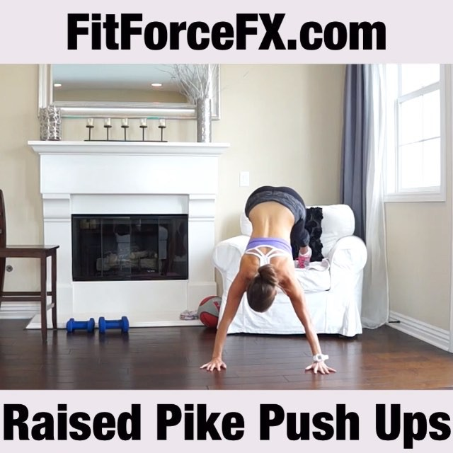 Double tap if you love push ups! MOVE OF THE WEEK: Decline pike push ups (a.k.a. decline military press push ups; a.k.a. raised pike push ups)  Aka… Shoulder Killer. These are awesome and I love these. However if you have shoulder issues, please do not do this push up variation. This is taking the pike push up to the next level and is the last progression towards a handstand push up. It's intense. Raised pike push ups are an excellent bodyweight workout for the shoulders. They primarily work your anterior and lateral deltoids and your triceps. They also engage the muscles of the upper back (the trapezius). Instructions:  1) Begin in downward dog position with your feet elevated on a chair, bench, or the wall. Your hips should be bent close to 90 degrees. 2) Keep your head in a neutral position and slowly lower down between the hands before pushing back to the starting position.  Tips:  1) Like regular push ups, you don't want your head coming down behind your hands.  Have fun! Note: video is sped up.  Follow me on Facebook and YouTube for full workouts, fitness & health tips, motivation, & healthy recipes. Link in bio. 💪😊 #fit #fitfam #fitspo #fatburn #fatloss #fitgirl #fitness #fitmamma #fitmommy #fitforcefx #fitjourney #fitnessgoals #freeworkouts #fitnessaddict #fitnessjourney #workout #exercise #weightloss #workoutvideo #weightlossjourney #beastmode #bikiniready #bodyafterbaby #bodyweightexercises #hiit #homegymlife #homeworkout