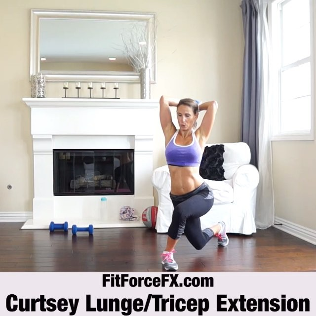 MOVE OF THE WEEK: Curtsey Lunge Tricep Extension. If you've been working out with me, you probably know by now that I love this variation of lunge. Also…who doesn't love to curtsey? It's effective and really hits a lot of muscles. The curtsy lunge works your glutes, tones your inner and outer thighs, and strengthens your calve muscles. It also challenges balance, and therefore your core. Throw in a tricep extension and you've got yourself an incredibly effective and efficient full body move! Have fun with it! (Note: video is sped up). Technique:  1) Begin standing with your feet hip width apart, arms at your sides. 2) Keeping your weight in your left food, take a big step back with your right leg, crossing it behind your left leg (as if about to curtsey). 3) Bend your knees and lower your body straight down until your front thigh is parallel to the floor, and both knees are bent at 90 degrees. 4) Begin your tricep extension at this bottom position and be sure to keep your elbows in close to your head through the entire movement. 5) Be sure to keep your abs tight and your back straight, chest up. 6) Holding your abs drawn in, return to the starting standing position, as you straighten your arms overhead, squeezing the triceps and keeping the arms and elbows tight to your ears. That's one rep. Perform 12-15 reps before switching to the other side.  Tips:  1) The movement can feel a little strange at first, so practice without weight until you feel comfortable. 2) As you lunge, keep your front knee right over your ankle and don't let it go past your toes. Do not let your ankle roll in or out and keep your toes pointed straight ahead. 3) If it's difficult to balance, omit the tricep extension and use a wall for stability. Move away from the wall as your stability increases.  Train. Nourish. Transform. 🌟 Full real-time workouts, fitness & health tips, motivation, & healthy recipes.  #fit #fitfam #fitspo #fatburn #fatloss #fitgirl #fitness #fitmamma #fitmommy #fitforcefx #fitjourney #fitnessgoals #flexiblediet #freeworkouts #fitnessaddict #fitnessjourney #sixpack #workout #weightloss #weighttraining #weightlossmotivation #bodyafterbaby