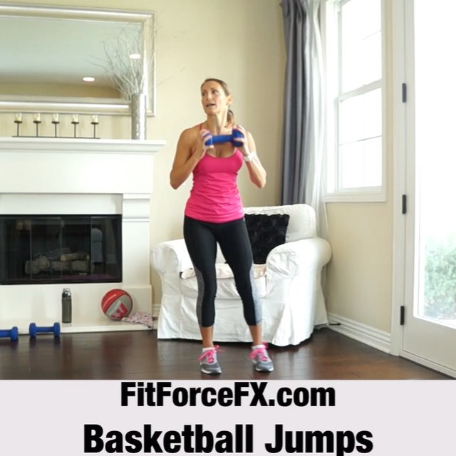 MOVE OF THE WEEK: Tabata bing, Tabata boom basketball jumps!!! HIIT Basketball jumps really get your heart rate soaring! It is a super efficient calorie burning total body move. This move never fails to get my heart rate up super high! The video is sped up so it doesn't look like the jumps are high, but they are - jump as high as you can while still keeping a fast pace, during the interval.  Technique:  1) From a standing position, holding a weight or weighted ball, squat partway down and take a WIDE lateral step with your right foot keeping your body low.  2) Immediately follow with your left foot, bringing it to your right and then explosively jump vertically, extending your ams as if you are going to shoot a basket.  3) Repeat alternating directions for a 4 minute Tabata (20 seconds on 10 seconds off). Have fun!  Train. Nourish. Transform. 🌟🌟👖@kyodanactive 👟 @nikewomen #fitfam #fitmom #fitspo #fit #fitbody #fitness #fitnessaddict #fitlife #fitgirl #fitspiration #fitnessmotivation #fitchick #fitnessjourney #fitnessfreak #fitfluential #fitforlife #fitsporation #fitstagram #workout #weightloss #workoutvideo #tabata #hiit #bodyafterbaby #bikinibody #weightlossjourney