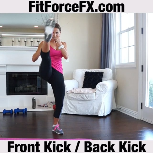 Move of the Week: Front Kick Back Kick. This is a great move to sculpt powerful legs and burn calories! It's also a really effective way to work important core muscles - hello abs! Speed it up for a great cardio calorie burn. Pay special attention to the re-chamber. Really pull that leg back in. You will be working your muscles differently and you will get even more out of the exercise.  Note: Video is real-time.  Technique:  1) From a split stance with right foot forward and arms on guard, shift weight into left leg and bring right leg into a chamber (bending right knee up toward chest). 2) Quickly extend leg, exhaling forcefully through mouth while kicking out from hip and leaning torso back slightly, pushing out through ball of foot.  3) Return leg to chamber and down.  4) Immediately lift left foot back into chamber (bending left knee behind you with foot near buttocks). 5) Kick back out through the heel (arms remain on guard the entire time). 6) Return leg to chamber and down.  Do 15 quick reps; repeat on the opposite side for a total of 3 sets, or do it as a round of Tabata (4 mins of 20/10 intervals) going at your maximum intensity.  Train. Nourish. Transform.  Join me on Facebook, Pinterest & YouTube (link in bio) for workouts, fitness & health tips, motivation, & healthy recipes.  #fit #fitfam #fitmom #fitspo #fitbody #kickboxing #hiit #tabata #cardio #fitness #getfit #fitnessaddict #fitlife #fitgirl #fitspiration #fitnessmotivation #fitchick #fitnessjourney #igfit #fitnessfreak #stayfit #fitfluential #fitnesslifestyle #fitforlife #healthy #legday