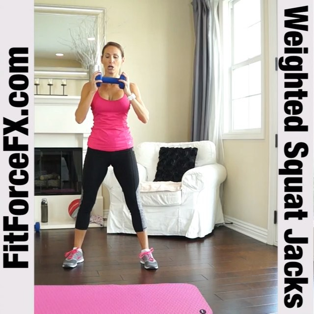 MOVE OF THE WEEK: Plyo Squat Jacks! This is a full-body exercise that requires no equipment and primarily works the legs and midsection -- specifically, the gluteus maximus, hamstrings, abdominals, quadriceps and calves. By adding a weight and an overhead press, you also engage the core and the upper body more. This exercise builds explosive power, aids athletic performance, and builds muscle while also burning fat. Quadruple duty baby!  Technique:  1) Lower into a squat and bring your arms in front of you, with both hands holding a single 10 lb weight (10 lbs or less - don't go above 10 lbs on these). 2) Jump your feet together as you raise the weight over your head. 3) 'Jack' your feet out and return to a squat, as you lower the weight in front of you. Move as quickly as you can while keeping good form. Do 20 seconds of max reps with a 10 second rest in between, a total of 8 times (for one 4-minute Tabata round). Or do 3 sets of 20 reps as fast as you can.  Tip: When in a squat, be sure to keep your knees behind your toes and your hips behind you as if you were about to sit on a chair. Land softly when you come out of your jump into your squat.  Join me on YouTube (link in bio), Facebook, and Pinterest for full workouts, fitness & health tips, motivation, & healthy meal ideas.  Train. Nourish. Transform.  #fit #fitfam #fitmom #fitspo #fitbody #fitness #fitness #fitnessaddict #fitlife #fitgirl #fitspiration #fitnessmotivation #fitchick #fitnessjourney #fitnessfreak #fitfluential #fitnesslifestyle #fitforlife #workout #weightloss #weightlossjourney #bodyafterbaby #squats #hiit #tabata #cardio