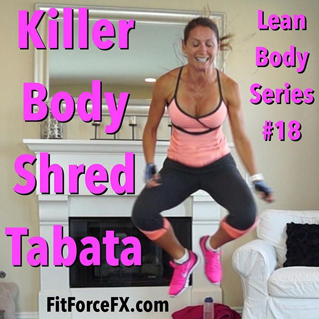 Killer Body Shred Tabata is the 18th workout in the Lean Body Series and it's another doozy! This is full-on intense with 3/4 of the workout being different Burpee variations! Don't worry, you can do it - one round is only 16 minutes! I was still a bit sick during this one and I did it, and so can you! All levels can do this, just go at your own max pace and get as many reps in as you can in the allotted interval. Notice I say