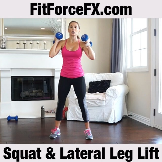 MOTW - Squat With Lateral Leg Raise.  Moves that challenge multiple body parts at once are a time-saving trick that helps you squeeze an effective workout into a hectic schedule. This great move engages the entire lower body. The squat is the king of all compound movements. It works your quads, core, abs, back, glutes, hamstrings, and calves. Adding a lateral leg raise, amps it up even more! The lateral raise will also work your abductor muscles, which are extremely important for daily activities and sports. This is a great move for ski conditioning! Also…it's a super effective exercise for toning the hip area (goodbye saddle-bags)! Join me on Facebook and YouTube (link in bio) for workouts, fitness & health tips, motivation, & healthy meal plans.  Train. Nourish. Transform.  Technique:  1) Begin with your feet hip width apart. Chest up and shoulder's down and back (not up by your ears). Keep your core tight. Press your buttocks back as if you are going to sit down in a chair. Track over the 2nd and 3rd toe as you squat (don't let your knees cave in). 2) On the upwards portion of your squat, raise your leg laterally with your toe pointed downwards. Heel is in line with the glute (not too far forward or too far behind you). Brief squeeze of the glute at the top and lower your leg back down. Squat and repeat on the lateral leg raise on the other side. That's one rep.  Do a round of Tabata (20 seconds on 10 seconds off for 4 minutes), or do 3 sets of 12 reps.  Tip: This is also a great bodyweight exercise. You don't even need the dumbbells to feel the burn and see results.  #fit #fitfam #fitmom #fitspo #fitbody #fitness #getfit #fitnessaddict #fitlife #fitgirl #fitnessmotivation #fitchick #fitnessjourney #igfit #fitnessfreak #fitfluential #fitnesslifestyle #fitforlife #workout #workoutvideo #weightlossjourney #weightloss #squat #bodyafterbaby #burncalories #hiit #tabata #legday #bootybuilding