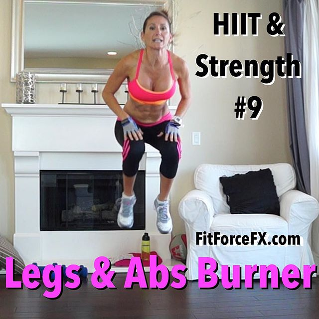 "Are you ready for the next workout in the HIIT & Strength Challenge? You'll burn fat, burn calories, tone muscle, and improve fitness with this fun workout! It really targets the legs, gluteals, and abs but you're going to get a full body workout because all the cardio segments are Burpees, which work your entire body. That means you'll work pretty much every muscle in your body and burn more calories in less time. To that I say, ""Bring on the Burpees"