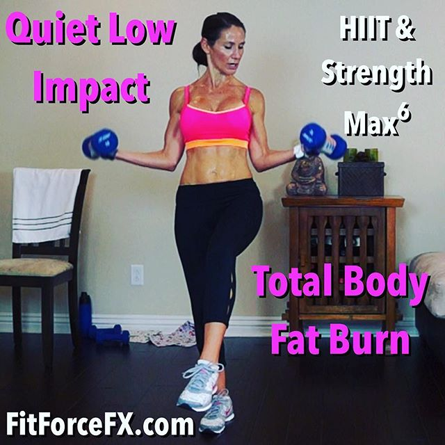 "Designed to help you push to your max without pounding your joints, this low-impact ""quiet"" workout is an intense mega fat burn and muscle sculpt. You will get a  sweat-bath without bothering your neighbors or waking the little ones with loud, thumping jumps. For those who love to get air, this workout can easily be made high impact. Go hard and have fun! Tag me #FitForceFX or #TeamFitForceFX in your workout pics!  Train. Nourish. Transform.  Join me on YouTube (link in bio), Facebook, & Pinterest for free workouts, fitness & nutrition tips, motivation, & healthy recipes.  Fit Wear: 👚@marika_clothing 👖@fabletics 👟@Nike  #fit #fitfam #fitmom #fitspo #fitbody #fitmommy #fitness #gettingfit #fitnessmotivation #getfit #fitspiration #fitnessaddict #fitgirl #fitlife #fitfluential #igfit #stayfit #fitmotivation #hiit #tabata #homeworkout #strongmom #strongisthenewskinny #wootd #Workout #workoutvideo #weightloss #FitForceFX"