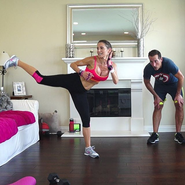 My workout partner from yesterday is hating stairs today. 😈 1000+ Calorie Extreme Fat Burner Workout Challenge dropping Wednesday! It's a fun subscriber thank you for 1700 subscribers. 💕💕💕 Look how much fun my husband is having here! He lost 4lbs of sweat during this workout! No joke!  Train. Nourish. Transform.  Fit Wear: 👚@marika_clothing 👖@marika_clothing 👟@Nike  #swolemate #kickedhisass #sweaty