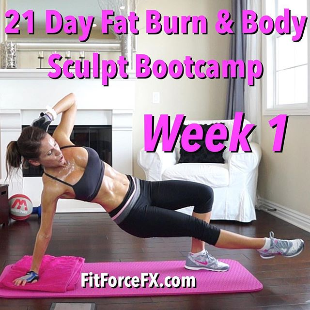 The free 21 Day Fat Burn & Body Sculpt Bootcamp for WEEK 1 is here! This awesome and effective bootcamp is your 21 day body transformation! The schedule is specifically designed for weight loss and body sculpting. I've structured it with existing FitForceFX workouts for a 3 week workout plan that will really maximize results! Follow the schedule as prescribed and be sure to hydrate and eat healthfully! Let me know how you are doing and if you have any questions along the way! I hope you enjoy it! 🌟 -J  Join me for workouts, fitness & nutrition & healthy comfort food hack recipes ► S U B S C R I B E to FitForceFX on YouTube (link in bio), Facebook, Twitter & Pinterest.  Fit Wear: 👚@marika_clothing 👖@rbxactive 👟 @nike  Train. Nourish. Transform.  #bootcamp